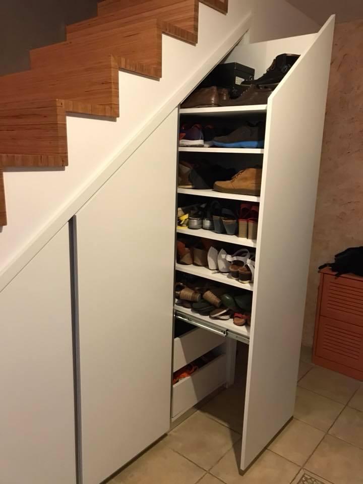 Meuble Rangement Chaussure Sous Escalier.Placards Sous Escalier Pose A Oudon