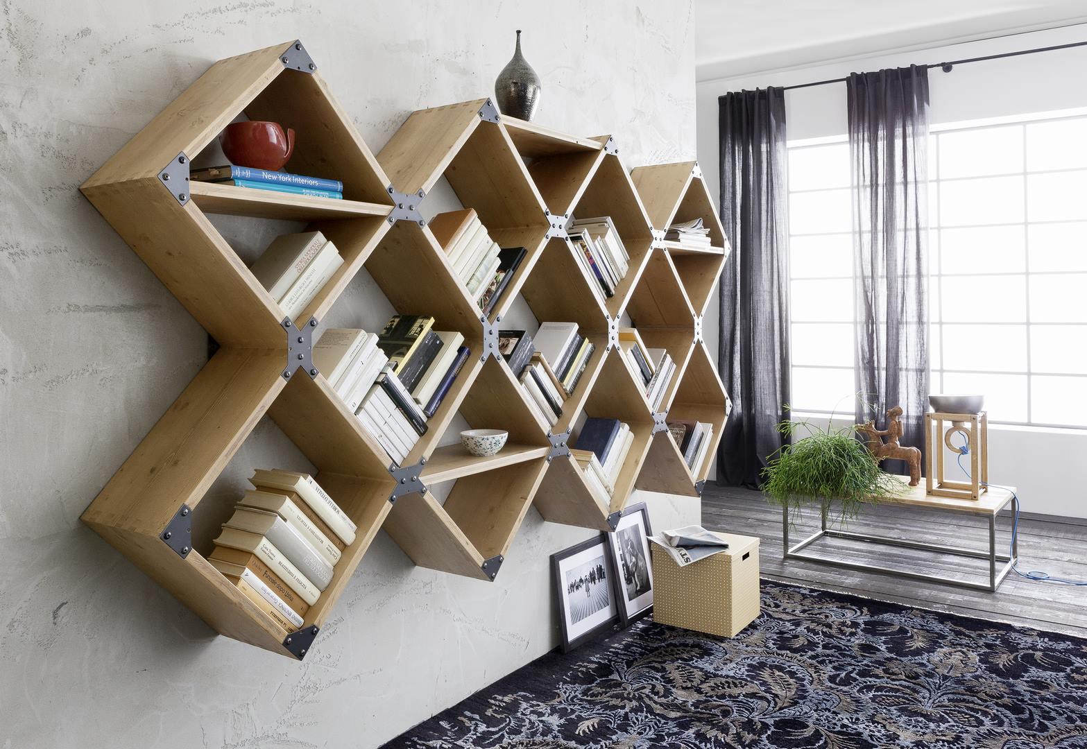 Module de bibliothèque déco en casiers assemblés