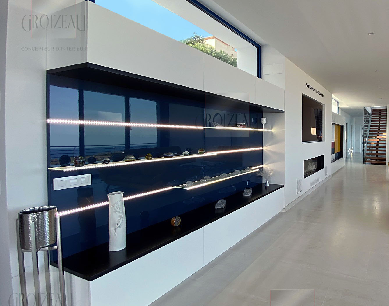 Meuble de salon Laqué bleu brillant avec led