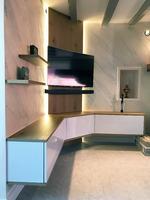 Meuble tv suspendu avec led dans un angle - Salon meuble tv ...