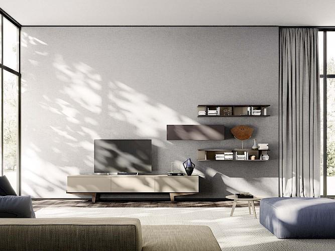 Meuble tv suspendu avec différentes finitions de bois
