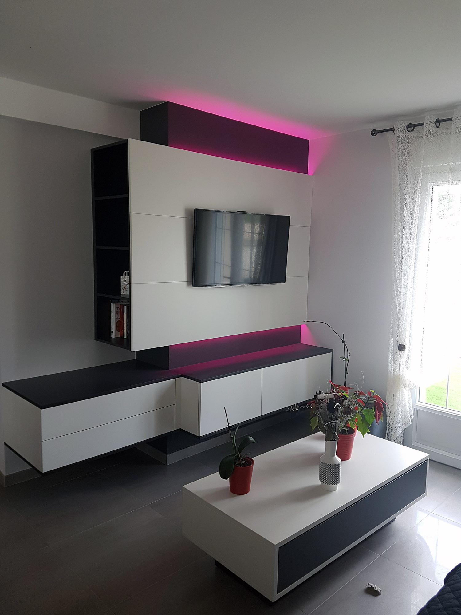 meuble laqué blanc et noir avec éclairage led