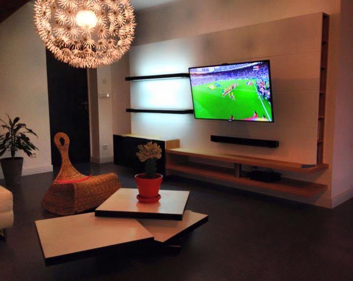 Meuble Tv avec etagères led