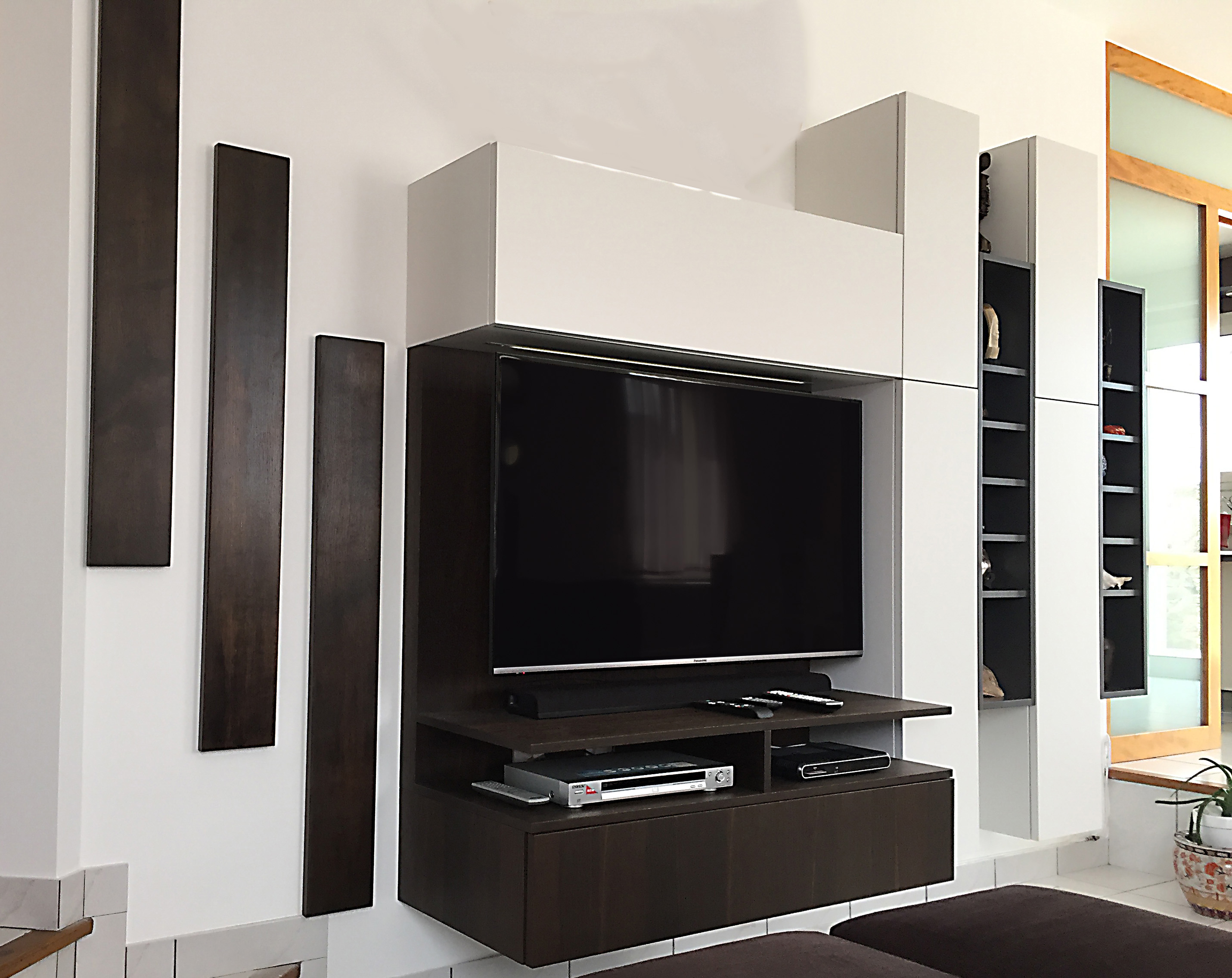 Meuble Tv Avec Bibliothèque meuble de salon sur mesure
