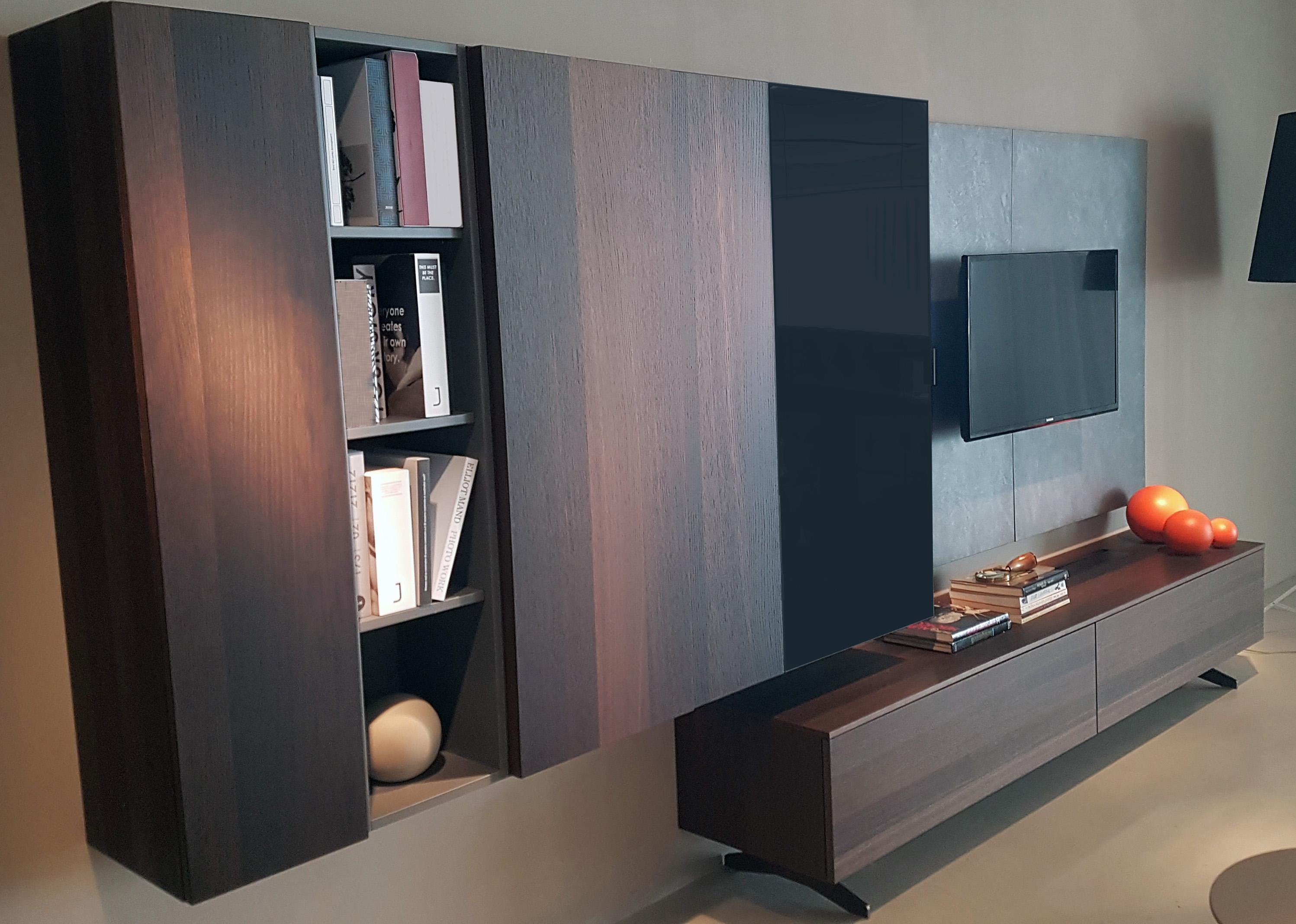 meuble suspendu avec vitrine et niche de rangement