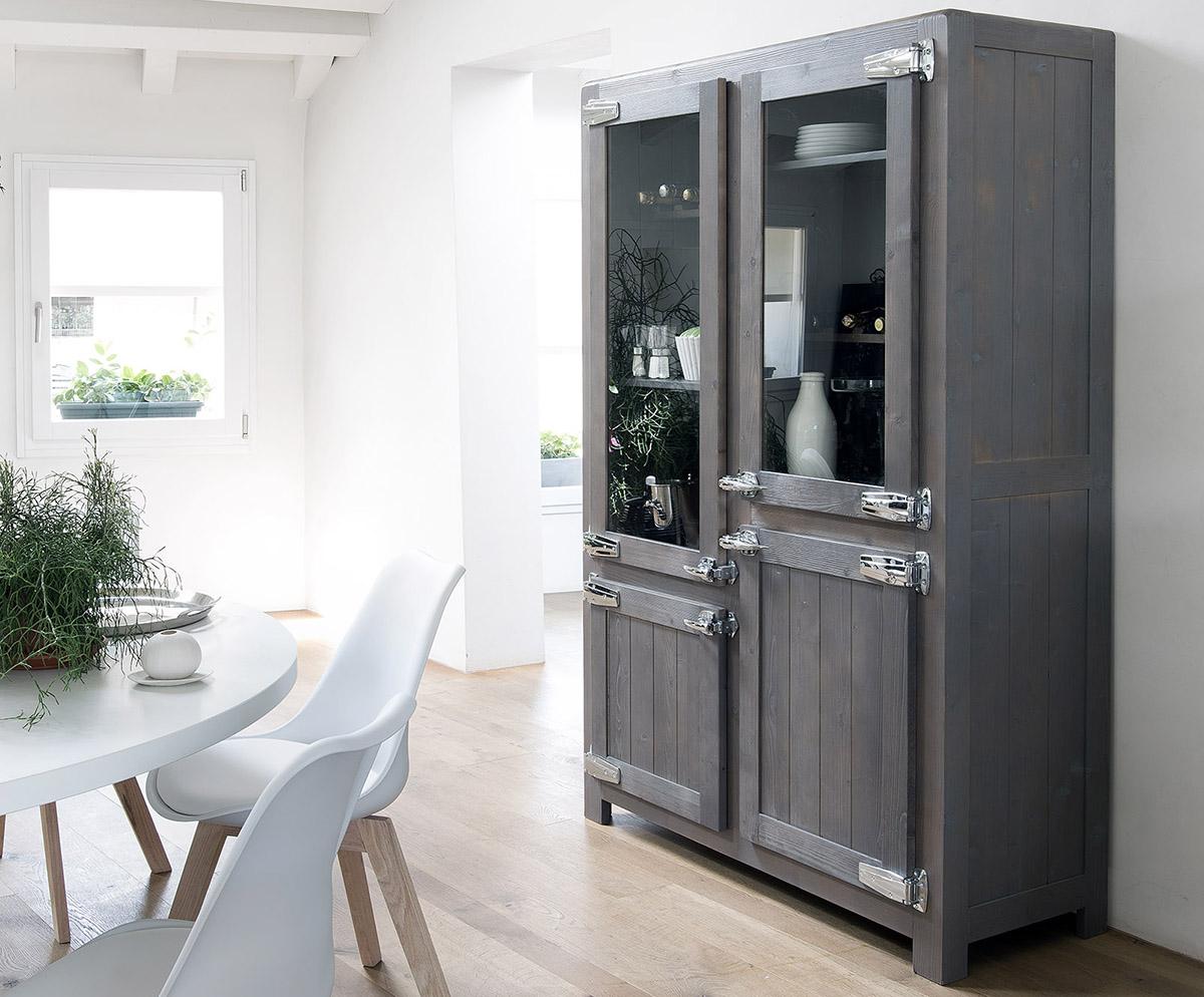 Buffet armoire de cuisine 4 porte en chenes et verre