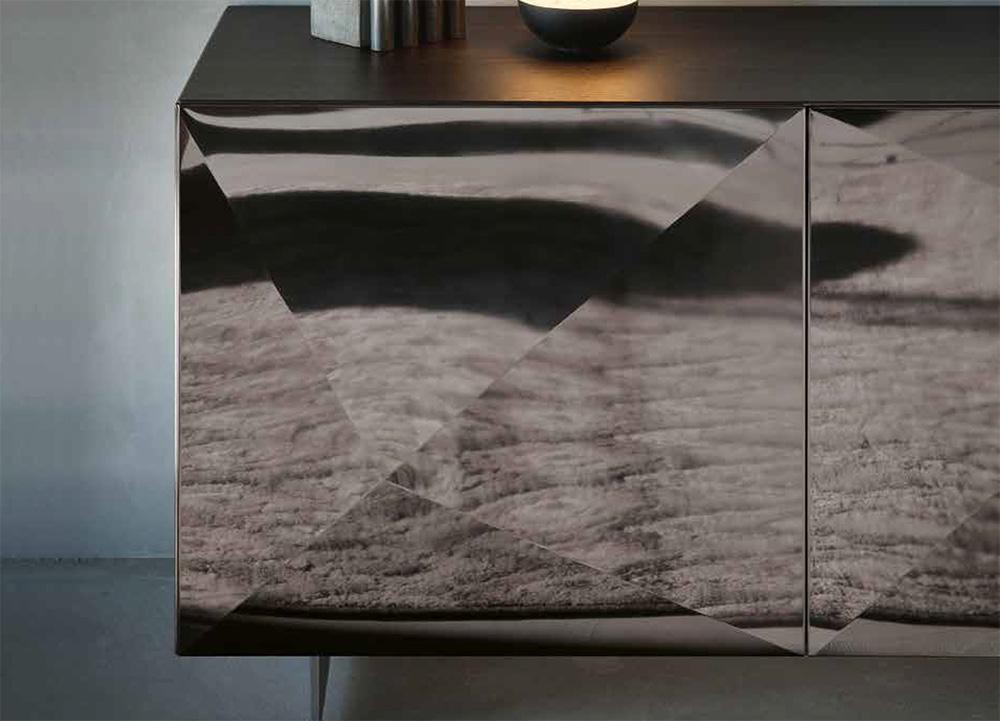 Buffet Cubric avec plateau chene et facade acier diamant