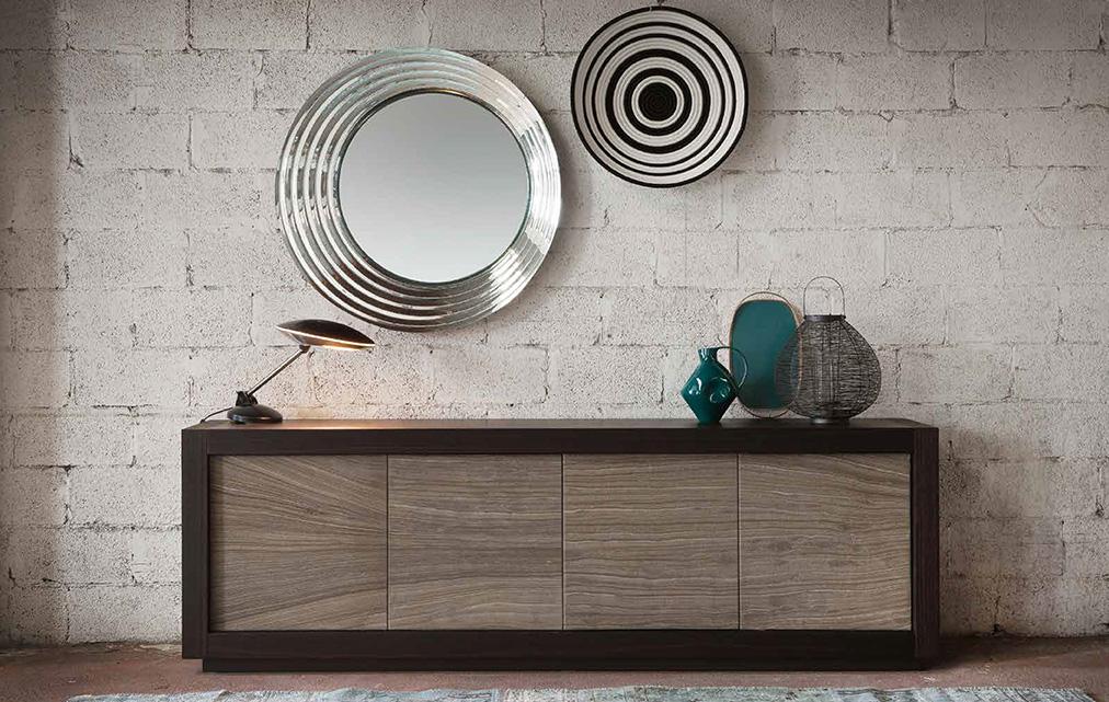 Buffet design Picasso bois et feuille de pierre