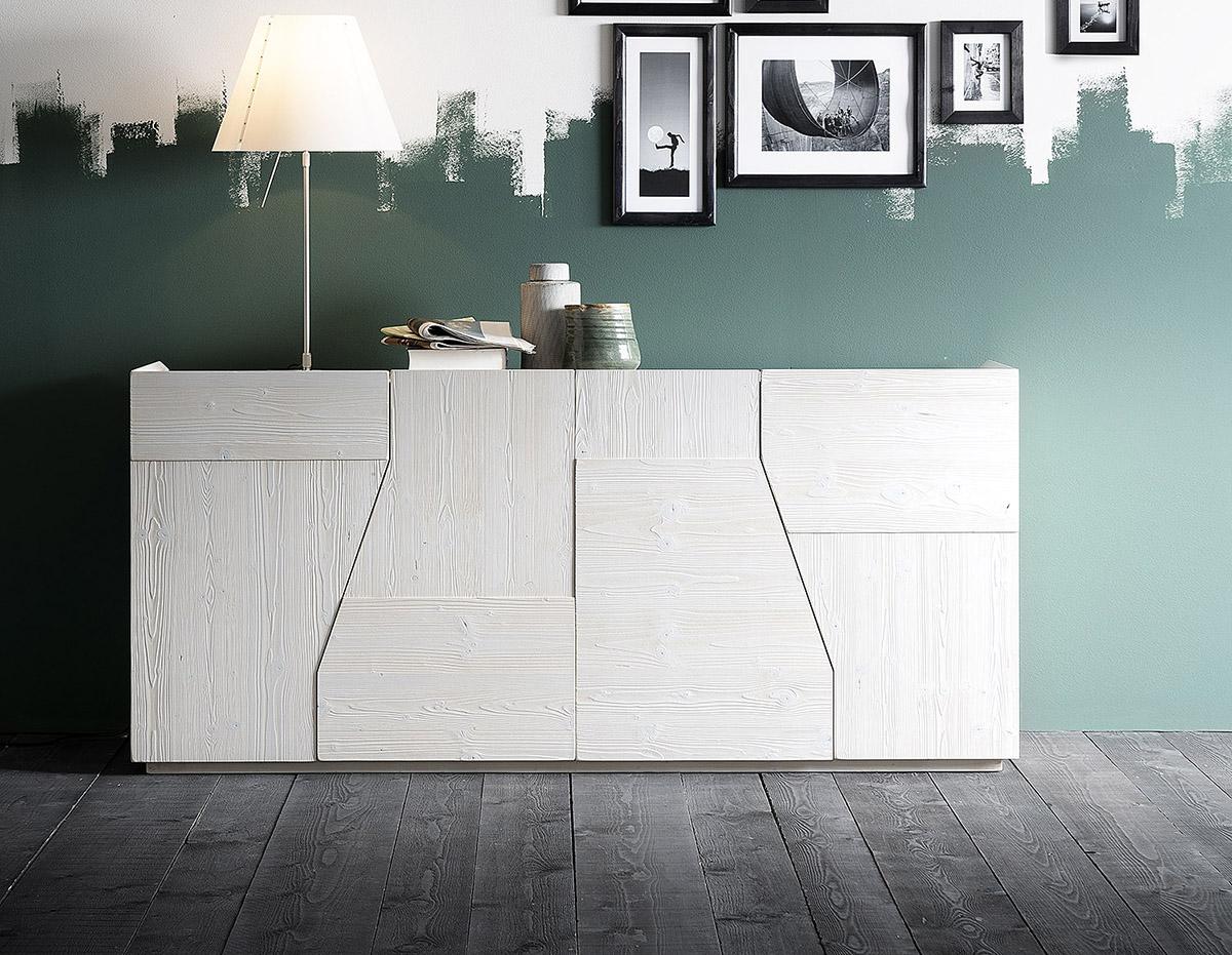Buffet blanc design avec  4 portes au design  incurvé