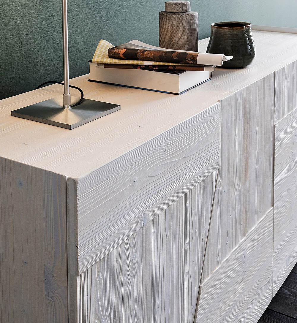 Buffet blanc design avec  4 portes chene au design  incurvé