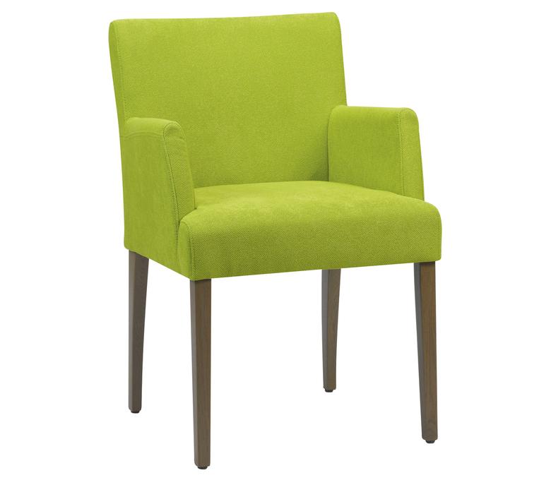 Chaise avec accoudoirs verte en tissus