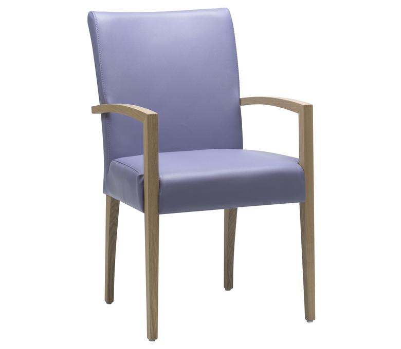 chaise en cuir bleu  avec accoudoirs bois