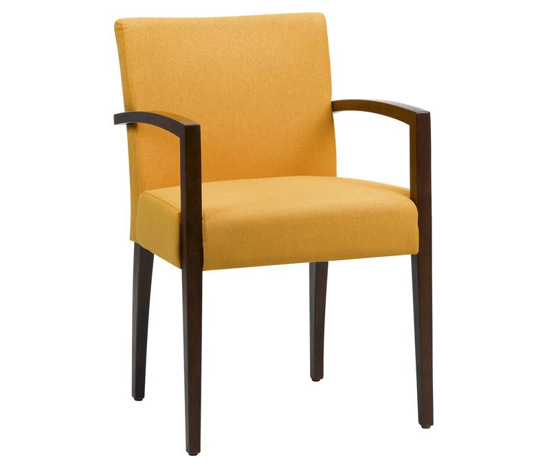 Chaise En Cuir Orange Avec Accoudoirs Bois