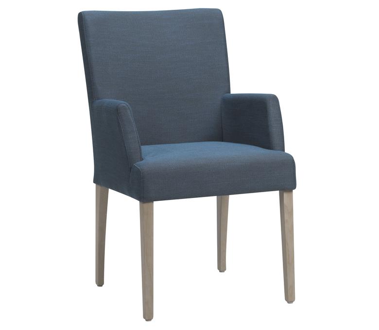 chaise large  en tissus bleu avec accoudoirs