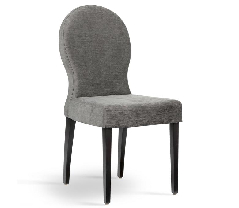 Chaise tissus gris dossier confort