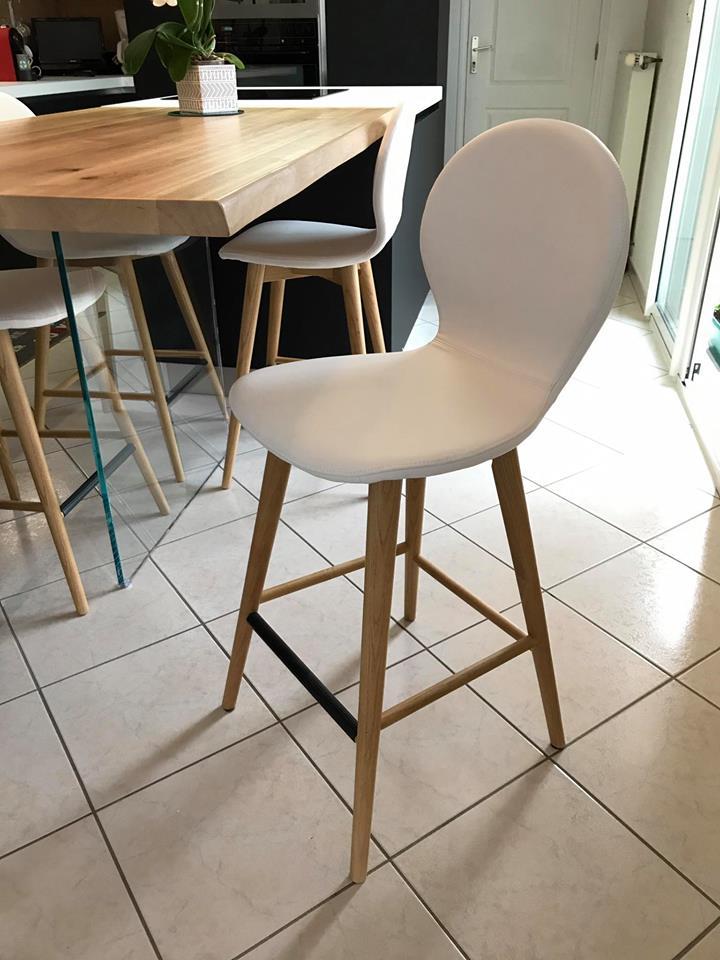 Chaise de cuisine blanche modèle Nina