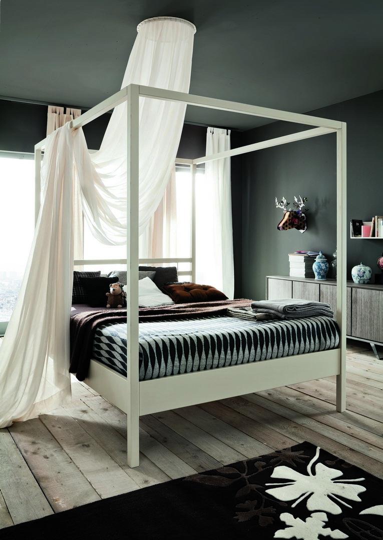 lit à baldaquin en chene blanc