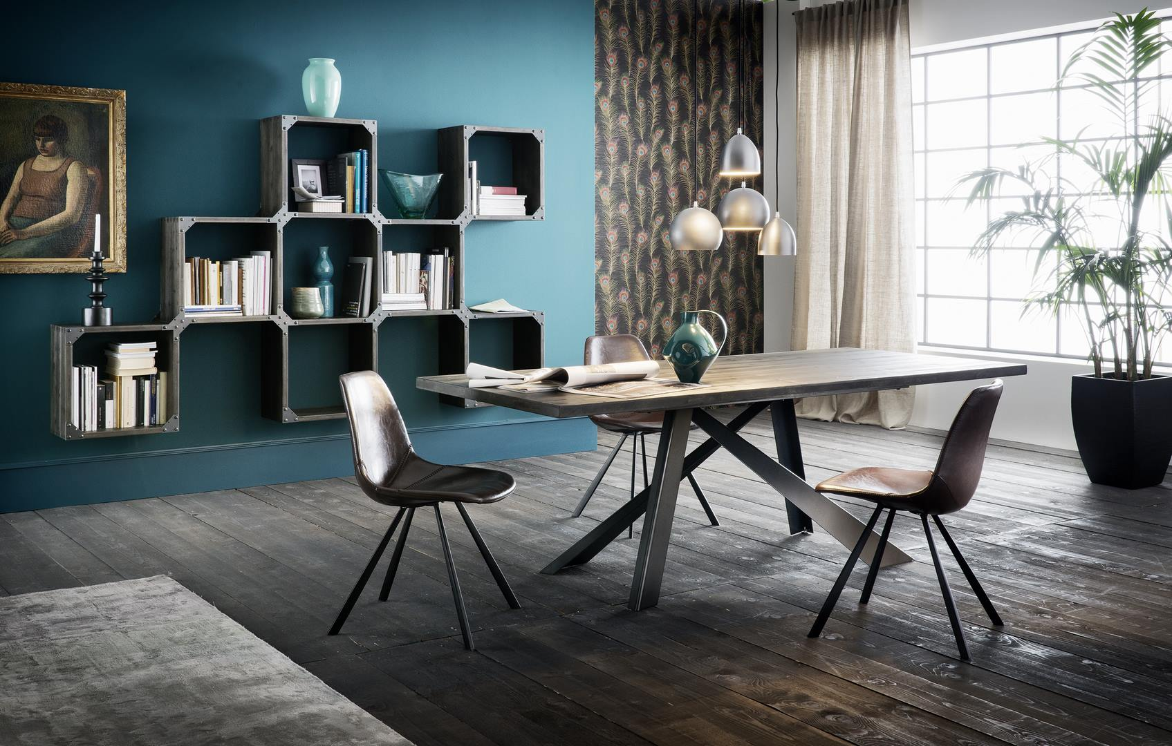 Table parigi easy finition noire pied metal noir