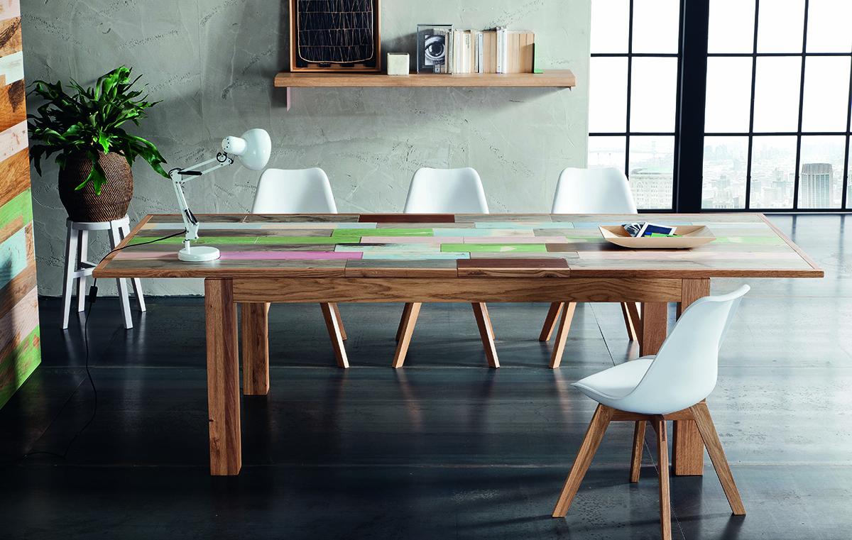 Table extensible en structure chene et plateau pin peint