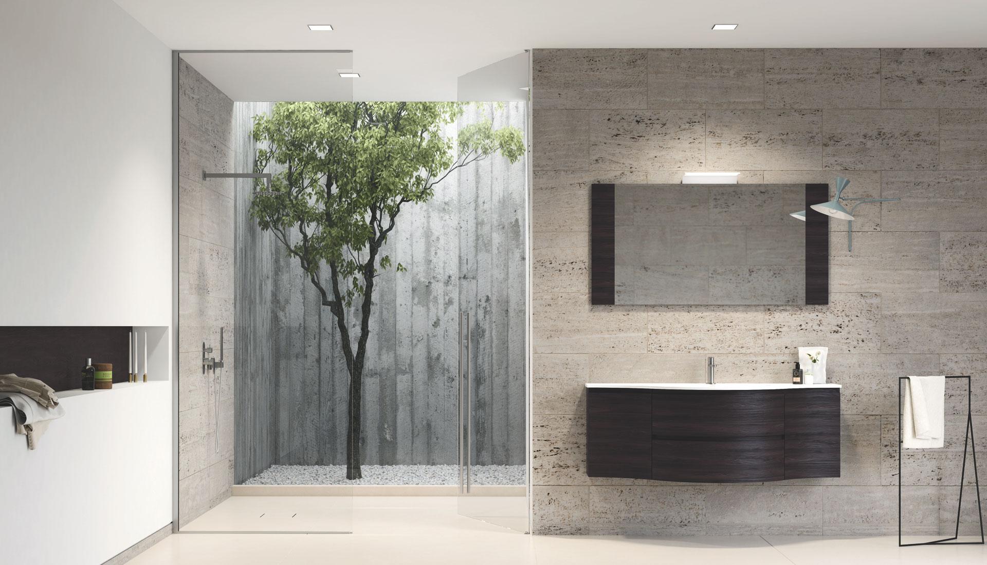Salle de bain avec meubles arrondis