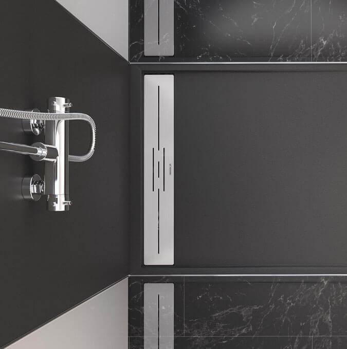 Modèle de receveur noir avec grille inox