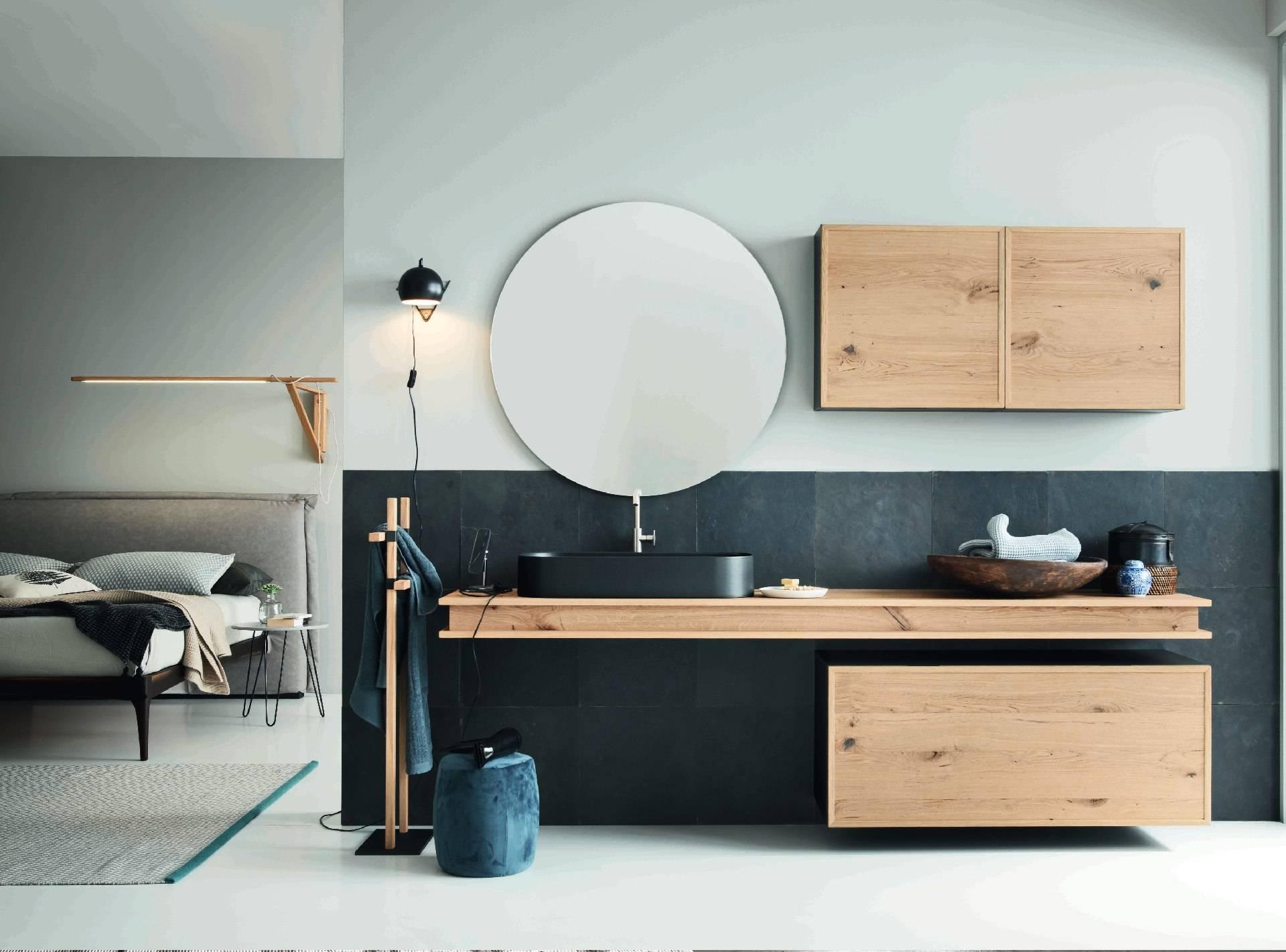 meuble de salle de bain en chêne vieilli avec crédence finition granite
