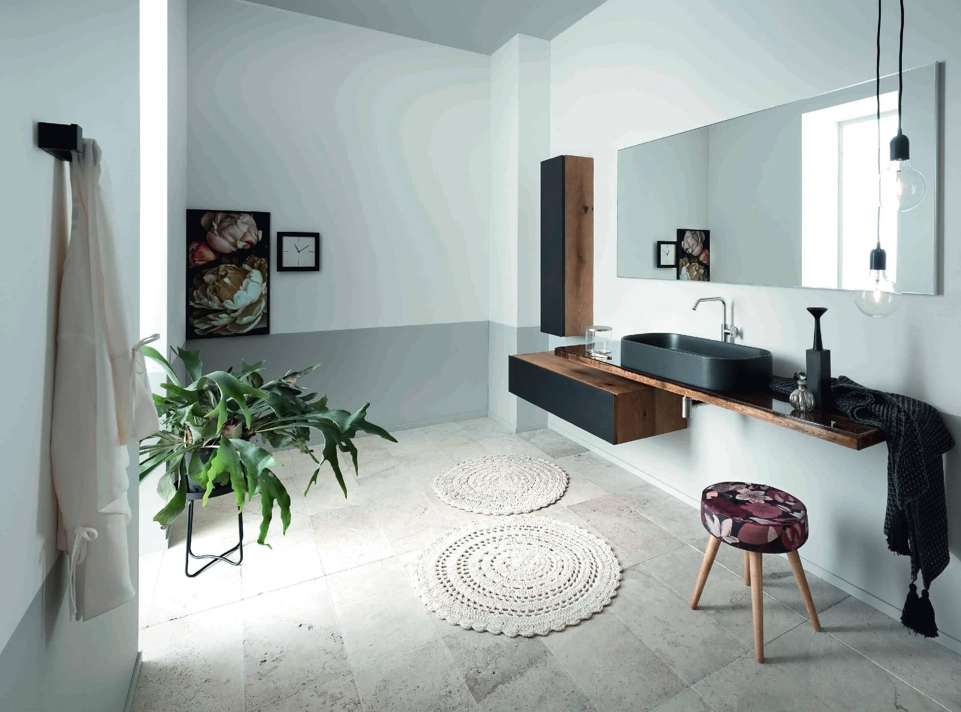 Salle de bain acier et bois massif